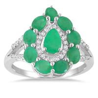 2.15 Carat TW Emerald and White Topaz Ring in .925 Sterling Silver