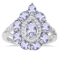 2.25 Carat T.W Tanzanite and White Topaz Ring in .925 Sterling Silver