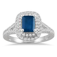 1 1/2 Carat Halo Diamond Engagement Sapphire ring in 14K White Gold