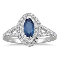 1 1/4 Carat Sapphire Halo Diamond Engagement Ring in 14K White Gold
