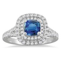 1 1/2 Carat Sapphire and Diamond Halo Engagement Ring in 14K White Gold