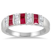 Princess Cut Ruby and White Topaz Ring in .925 Sterling Silver