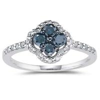5/8 CTW Blue and White Diamond Flower Ring 10k White Gold