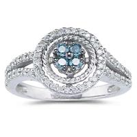 Blue and White Diamond  Ring in White Gold