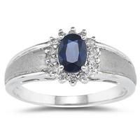 Sapphire and Diamond Flower Ring 10k White Gold