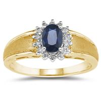 Sapphire and Diamond Flower Ring 10k Yellow Gold
