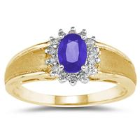 Tanzanite and Diamond Flower Ring 10k Yellow Gold