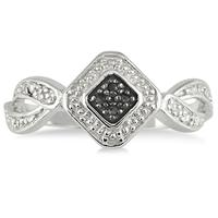 Genuine Black and White Diamond Ring in .925 Sterling Silver