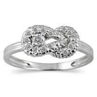 1/4 Carat Diamond Knot Ring in 10K White Gold