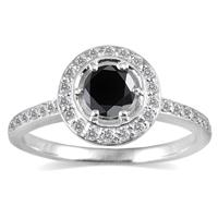 3/4 Carat Black and White Diamond Ring in 14K White Gold