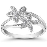 1/4 Carat Diamond Double Flower Ring in 10K White Gold