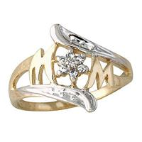 MOM Diamond Ring 14k Yellow Gold
