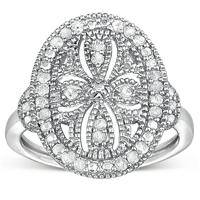 1/3 Carat Genuine Diamond Antique Filigree Ring in .925 Sterling Silver