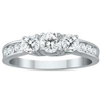 1 Carat TW Diamond Three Stone Ring in 10K White Gold (K-L Color, I2-I3 Clarity)