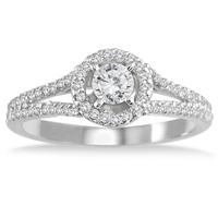 1/2 Carat White Diamond Engagement Ring in 10K White Gold