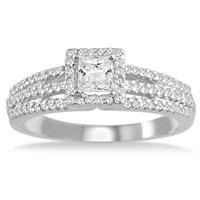 5/8 Carat TW Halo Princess Cut Diamond Ring in 10K White Gold