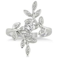 1/3 Carat Antique Leaf Ring in 10K White Gold