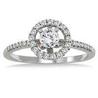 1/2 Carat Diamond Halo Engagement Ring in 14K White Gold