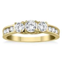 1.00 Carat Diamond Three Stone Ring in 10K Yellow Gold