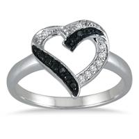 1/10 Carat Black and White Diamond Ring in .925 Sterling Silver