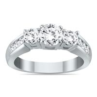 1 1/2 Carat Diamond Three Stone Ring in 10K White Gold