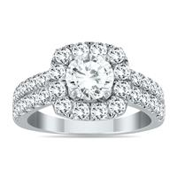 2 1/10 Carat White Diamond Halo Engagement Ring in 14K White Gold
