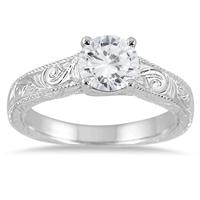 IGI Certified 1 Carat Diamond Antique Engraved Ring in 14K White Gold (I-J Color, I2-I3 Clarity)