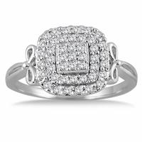 1/3 Carat Diamond Antique Cluster Ring in 10K White Gold
