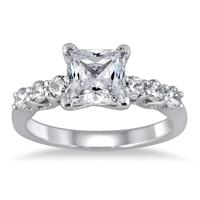 1.50 Carat Princess Engagement Ring in 14K White Gold