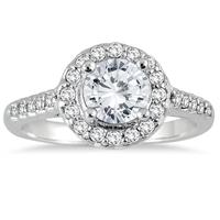 IGI Certified 1 1/4 Carat TW Diamond Halo Engagement Ring in 14K White Gold (H-I Color, I1-I2 Clarity)