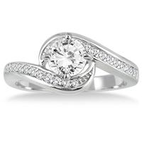 IGI Certified 1 Carat Diamond Engagement Ring in 14K White Gold (I-J Color, I2-I3 Clarity)