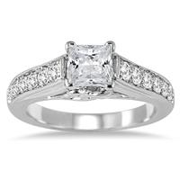 1 2/5 Carat Princess Cut Diamond Engagement Ring in 14K White Gold