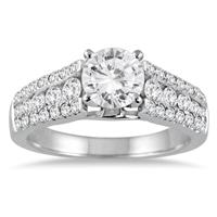 1 5/8 Carat Diamond Engagement Ring in 14K White Gold