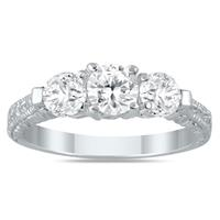 1 1/3 Carat Diamond Three Stone Engagement Ring in 14K White Gold