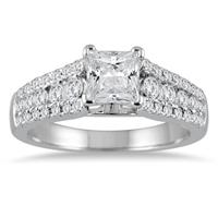 1 5/8 Carat Princess Cut Diamond Engagement Ring in 14K White Gold
