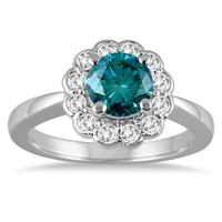 1 Carat TW Blue and White Diamond Ring in 14K White Gold