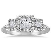 1 Carat Princess Diamond Three Stone Ring in 14K White Gold
