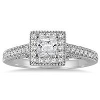 3/4 Carat Princess Antique Deco Diamond Halo Engagement Ring in 14K White Gold