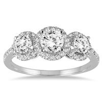 1 1/3 Carat TW Diamond Three Stone Halo Ring in 14K White Gold