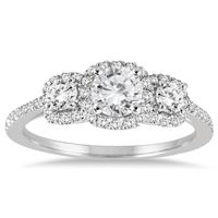 1 Carat TW Diamond Three Stone Ring in 14K White Gold