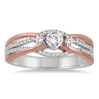 1/2 CTW Diamond Engagement Ring in 14K Rose and White Gold