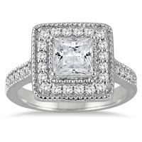 1.40 Carat TW Princess Antique Diamond Halo Engagement Ring in 14K White Gold