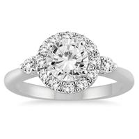 1 2/5 Carat TW Diamond Halo Engagement Ring in 14K White Gold