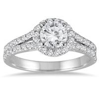 1 1/4 Carat Diamond Split Shank Halo Engagement Ring in 14K White Gold