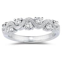 1/2 White Diamond Women's Band in 10K White Gold