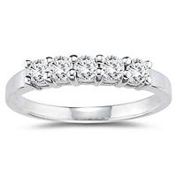1/2 Carat 5 Stone White Diamond Ring in 10K White Gold