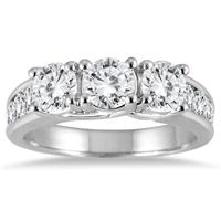 2 Carat Diamond Three Stone Ring in 14K White Gold