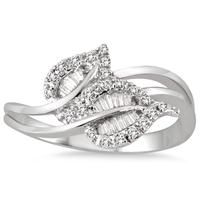 1/4 Carat Diamond Double Leaf Ring in 10K White Gold