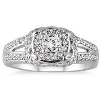 1/2 Carat Diamond Halo Antique Ring in 10K White Gold