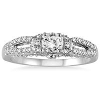 1 Carat TW Antique Split Shank Diamond Ring in 10K White Gold